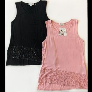 Simply Noelle Sequins Asymmetrical Tank Tops L/XL